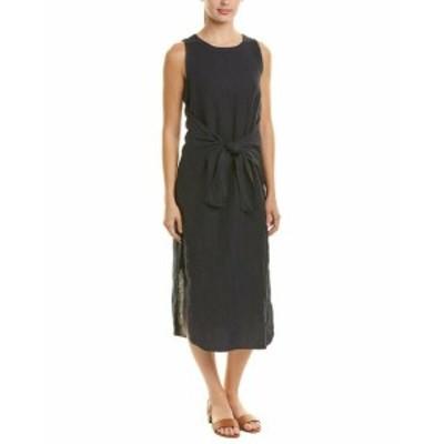 Three Dots スリー ドッツ ファッション ドレス Three Dots Tie-Front Linen Midi Dress
