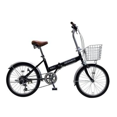折りたたみ自転車 自転車  20インチ カゴ 6段変速 CP仕様 前カゴ・錠・ライトプレゼント 通勤通学 街乗り 206-3
