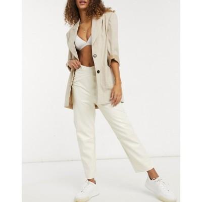 ファッションユニオン Fashion Union レディース ボトムス・パンツ Straight Leg Trousers With Waist Seam Detail In Faux Leather ホワイト