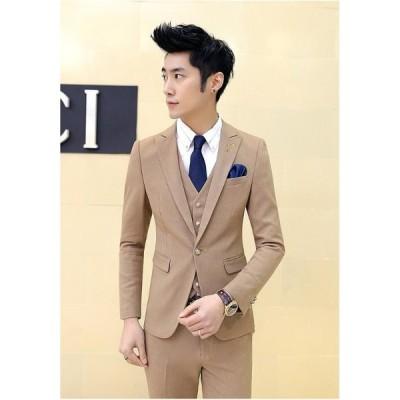 メンズスーツ 3点セット(スーツ+ジャケット+パンツ) ピーススーツ 結婚式 卒業式 9色有り 紳士服 韓国風