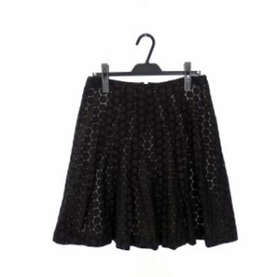 【中古】ドゥボンクール De bon coer ドット刺繍 プリーツスカート ボトムス コットン 膝丈 2 ブラック 黒 SSAW