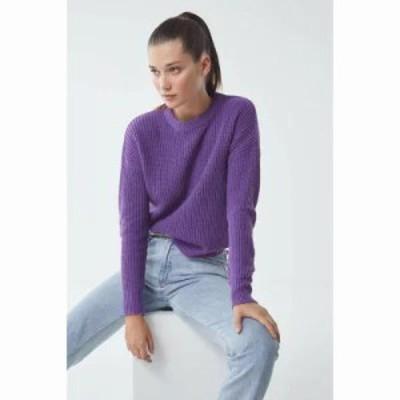 アーバンアウトフィッターズ ニット・セーター UO Andi Pullover Crew-Neck Sweater Violet