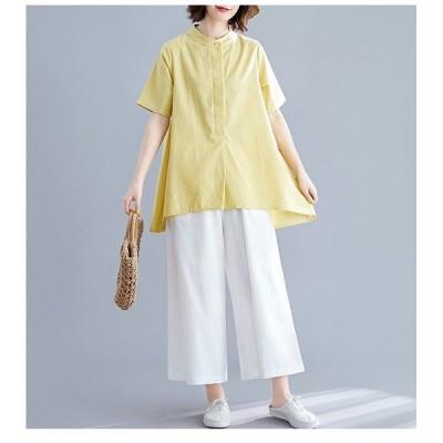 シャツレディースtシャツトップス半袖無地ボタン付き立ち襟コットン着痩せ体型カバー前後差カジュアルゆったり着まわし夏50代40代30代