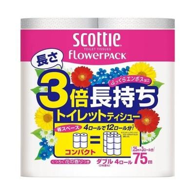[日本製紙]スコッティ フラワーパック 3倍長持ち ダブル 4ロール