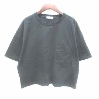 【中古】サロン SALON Tシャツ カットソー ドルマンスリーブ 半袖 F 黒 ブラック /YK レディース