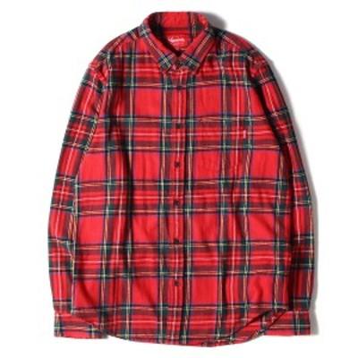 Supreme シュプリーム シャツ 17AW タータンチェック ボタンダウン ネルシャツ Tartan Flannel Shirt レッド グリーン M 【メンズ】【中