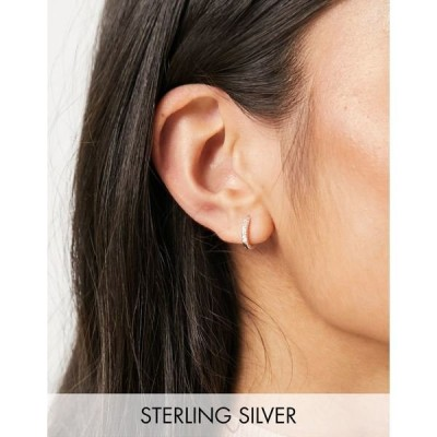 エイソス レディース ピアス&イヤリング アクセサリー ASOS DESIGN sterling silver hinge hoop earrings with crystals Silver