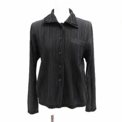 【中古】プリーツプリーズ PLEATS PLEASE イッセイミヤケ シャツ プリーツ 長袖 3 L 黒 ブラック ■EC レディース