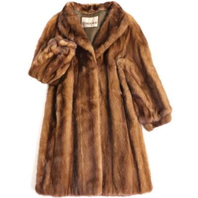 良品▼YAMAOKA SAGA MINK サガミンク 裏地ロゴ柄 本毛皮コート ブラウン 毛質艶やか・柔らか◎