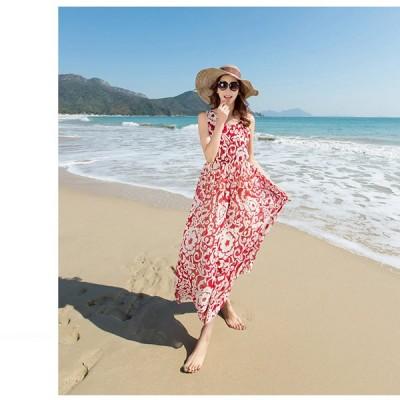 ロング丈 大人 ファション レディース ドレス 外出時のおしゃれ 薄手で軽やか ボヘミアン風 マキシワンピース 海 ビーチ リゾート