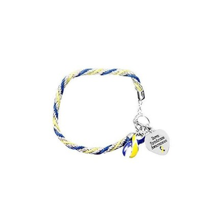 Fundraising For A Cause | Down Syndrome Awareness Charm Bracelet with Accent String - Blue & Yellow Ribbon Bracelets for Down Syndrome Aware