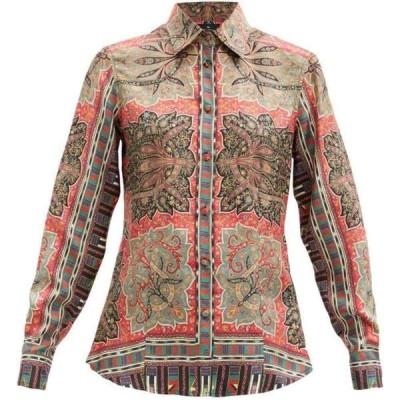 エトロ Etro レディース ブラウス・シャツ トップス Paisley-print silk-satin blouse Red