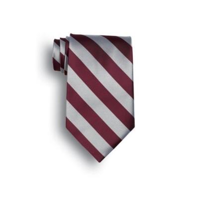 シグネイチャー ストライプ Brigade of Guards Polyester ネクタイ - マルーン, グレー(海外取寄せ品)