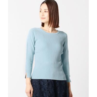 【ミューズ リファインド クローズ】 クルーネックリブニット レディース ライト ブルー M MEW'S REFINED CLOTHES