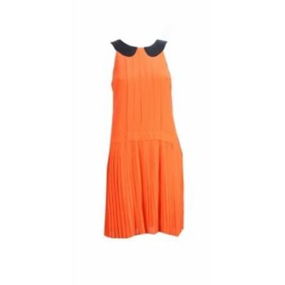 BAKER  ファッション ドレス W118 By Walter Baker Orange Sleeveless High-Neck Pleated A-Line Dress S