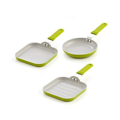 (One Egg, Griddle,  Grill) - Cook N Home 02583 3 Piece Nonstick Ceramic Min