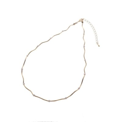 (Couture Brooch/クチュール ブローチ)ウェーブライン×パール調ビジューネックレス/レディース ゴールド(007)