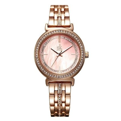 SHENGKE レディース腕時計 クォーツ ラインストーン ローズゴールド ファッション