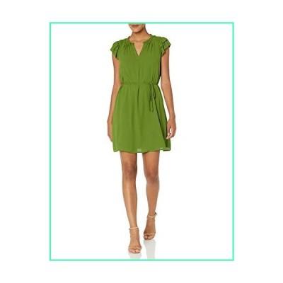 Lark & Ro Women's Georgette Split Neck Ruched Flutter Sleeve Dress, TWIST OF LIME GREEN, 8並行輸入品