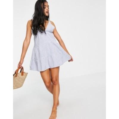 エイソス レディース ワンピース トップス ASOS DESIGN tiered beach dress in blue seersucker stripe Blue stripe