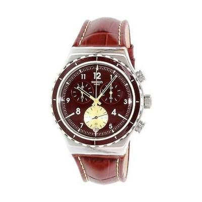 腕時計 スウォッチ S腕時計 メンズ Irony YVS418 レッド レザー スイス クォーツ 腕時計