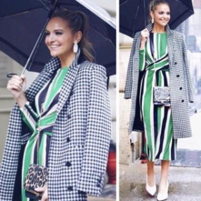 ファッション 衣類 NWT ZARA LONG DOUBLE BREASTED GINGHAM COAT BLACK/WHITE 3057/040_Last M