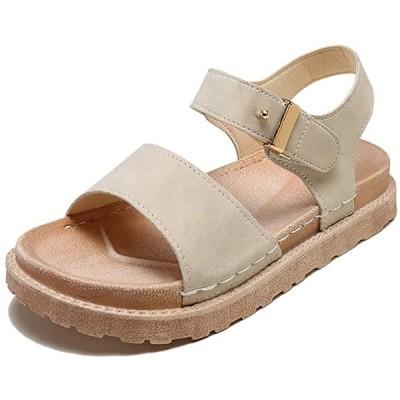 サンダル BE39 レディース 歩きやすい ファッション 美脚 おしゃれ お洒落 かわいい 可愛い 人気(ベージュ, 24.5 cm)