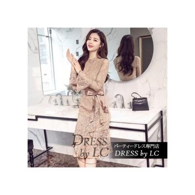 パーティドレス ドレス レース ひざ丈 長袖 フレア袖 花刺繍 Iライン 刺繍 透け感 シースルー 袖あり 大人可愛い フォーマル フェミニン シンプル きれいめ