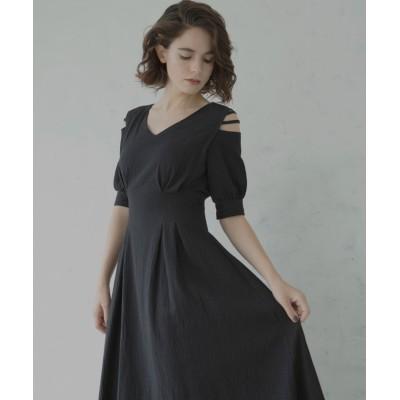 【ミエリ インヴァリアント】 Bumpy Tuck Dress レディース ブラック F(フリーサイズ) MIELI INVARIANT