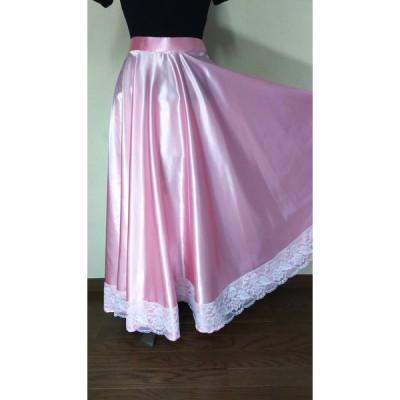 ダンス用スカート ピンク ロングスカート ダンスレッスン用 フレアースカート サーキュラースカート