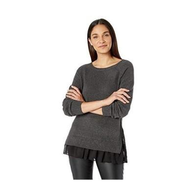 Tribal Women's Sweater with Woven Ruffle Hem, Charcoal M並行輸入品 送料無料