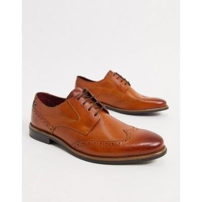 ベースロンドン メンズ スリッポン・ローファー シューズ Base London Risco brogues in tan leather