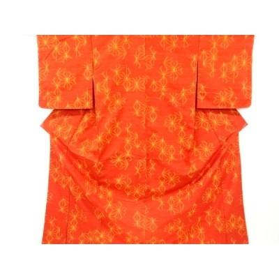 リサイクル 未使用品 麻の葉模様織り出し手織り真綿紬着物