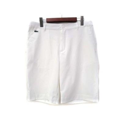【中古】ラコステ LACOSTE SPORT ショート パンツ 40 M 白 ホワイト ポリエステル 無地 ワニ 刺繍 FH9524 メンズ 【ベクトル 古着】