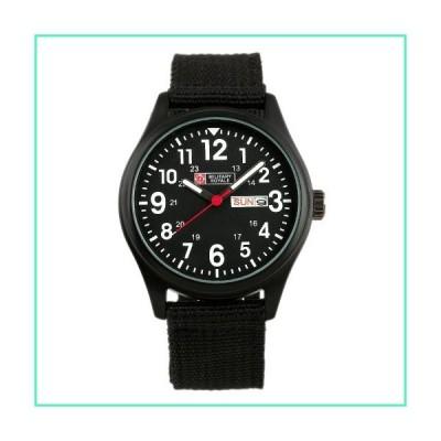 Military Watch Sport Date Day Quartz Army Analog Men Luminous Canvas Wrist Strap Black並行輸入品