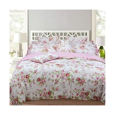 LACOMFY 花柄掛け布団カバーセット クイーンサイズ 綿100% シャビーシックカントリーサイド ローズガールズ寝具セット ピンク 3ピース 掛け