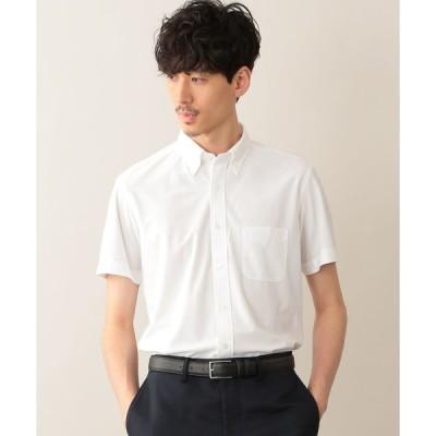シャツ ブラウス トリコットストライプ ボタンダウン半袖シャツ