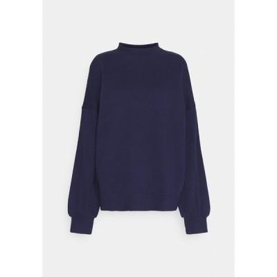 アンナフィールド パーカー・スウェットシャツ レディース アウター High Neck Puff Sleeve Sweatshirt - Sweatshirt - dark blue