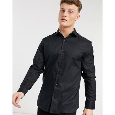 セレクテッドオム メンズ シャツ トップス Selected Homme slim fit easy iron smart shirt in black