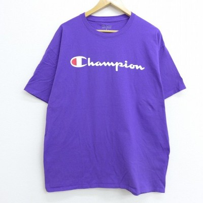XL/古着 半袖 ブランド Tシャツ チャンピオン champion ビッグロゴ コットン クルーネック 紫 パープル 20jul13 中古 メンズ