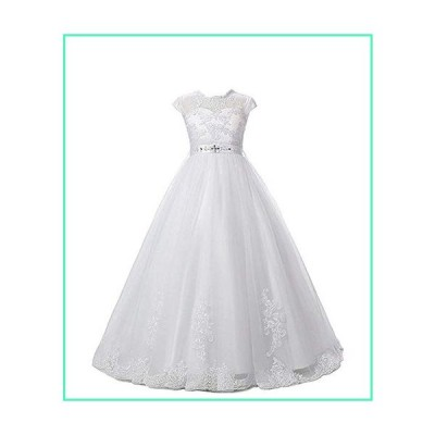Magicdress White First Communion Baptism Dresses for Girls 7-16 Lace Princess Flower Girls Gown 10並行輸入品
