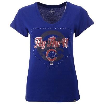 47ブランド Tシャツ トップス レディース Women's Chicago Cubs Home Slogan Ultra Rival V-Neck T-Shirt Blue