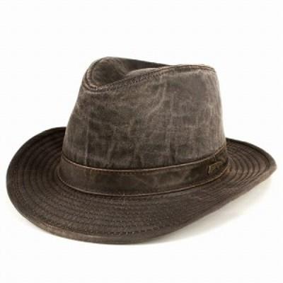 ハット 帽子 メンズ ワイドブリム インディ・ジョーンズ UPF50+ 中折れハット フェドラ レザー風生地 ダークブラウン