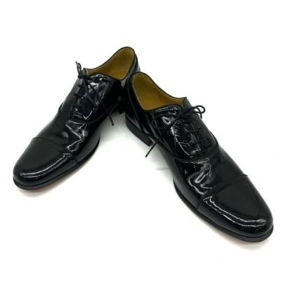 HERMES エルメス 靴 シューズ ビジネスシューズ レザー エナメル ブラック レースアップ [サイズ 39 (約26cm)]