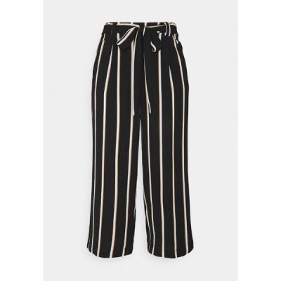オンリー カジュアルパンツ レディース ボトムス ONLWINNER PALAZZO CULOTTE PANT - Trousers - black/camel