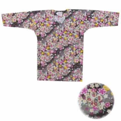 【お祭り用品・衣装】 鯉口シャツ 桜吹雪 黒 S-LL D9553