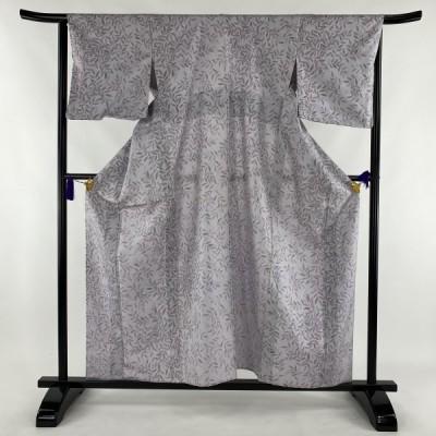 お召 美品 逸品 葉柄 実 薄紫 単衣 身丈159cm 裄丈65cm M 正絹 【中古】