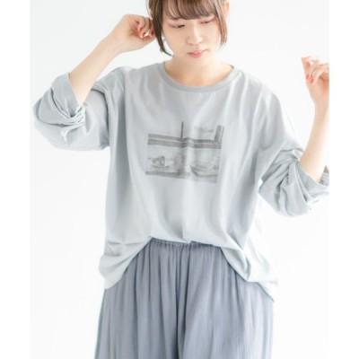 tシャツ Tシャツ 【wordtrobe】空紡糸転写フォトワイドTシャツ-2 長袖