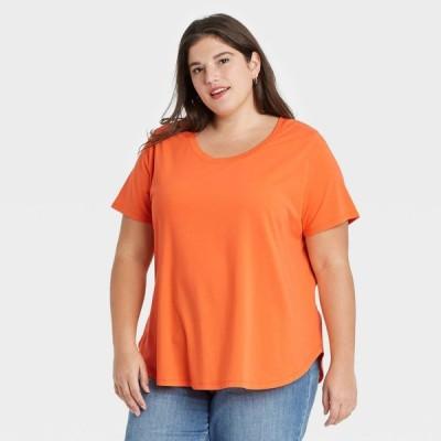 アヴァ&ヴィヴィ Ava & Viv レディース Tシャツ 大きいサイズ トップス Plus Size Essential Relaxed Scoop Neck T-Shirt - Orange