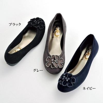 パンプス シューズ レディース / モチーフ付ベロア お洒落パンプス / 40代 50代 60代 70代 ミセスファッション シニアファッション 婦人 靴